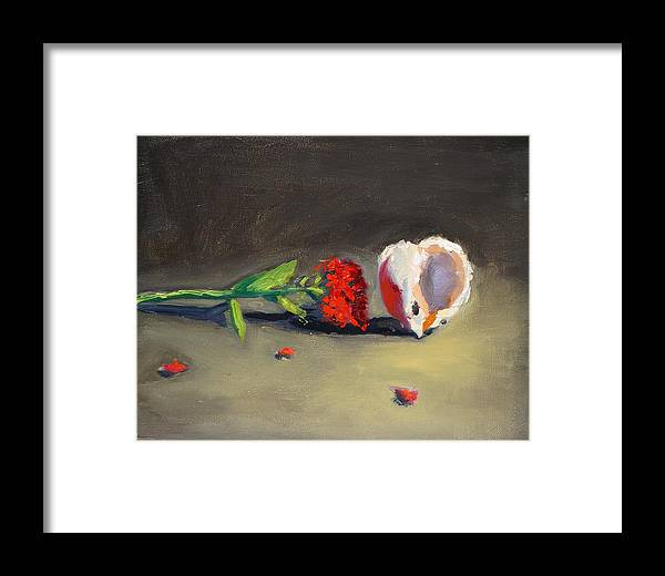 Carnation Flower Framed Print featuring the painting Carnation Flower And Sea Shell by Bela Csaszar