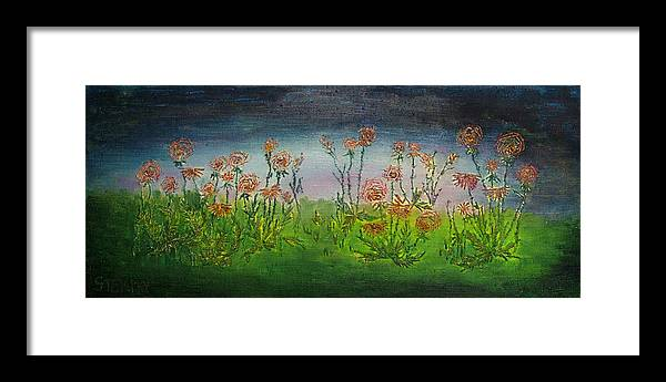 Flowers Framed Print featuring the drawing Carnations At Dusk by Jacob Stempky