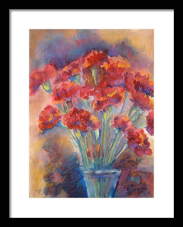 Flowers Framed Print featuring the painting Carnations by Joyce Kanyuk