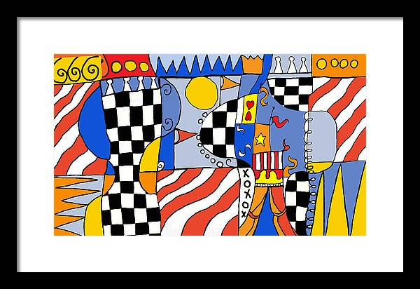 Abstract Framed Print featuring the painting Carnival 1 by Susan Rinehart