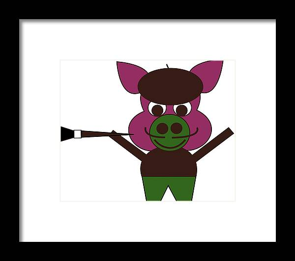 Pig-casso Framed Print featuring the digital art Carnival at the Zoo - Pig-Casso by Asbjorn Lonvig