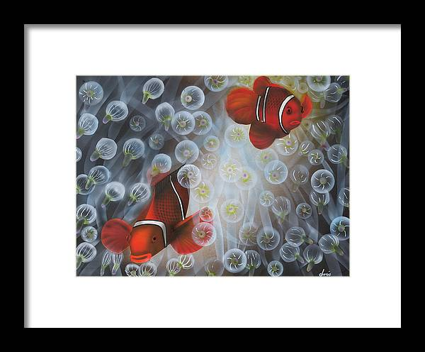 Clownfish Framed Print featuring the painting Carnival Clowns by Doris Hodgson