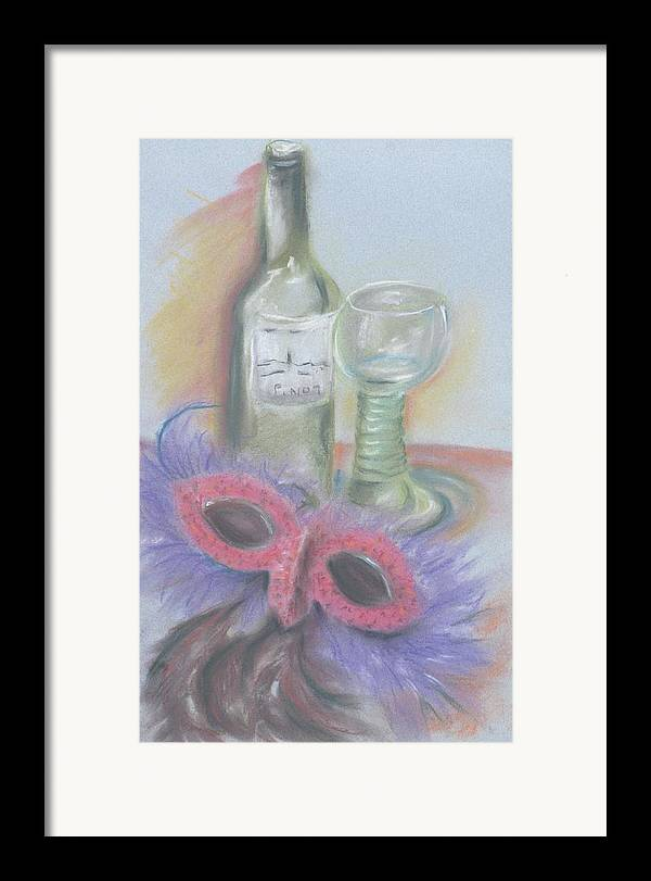 Still Life With Mask Framed Print featuring the drawing Carnival by Kathy Mitchell