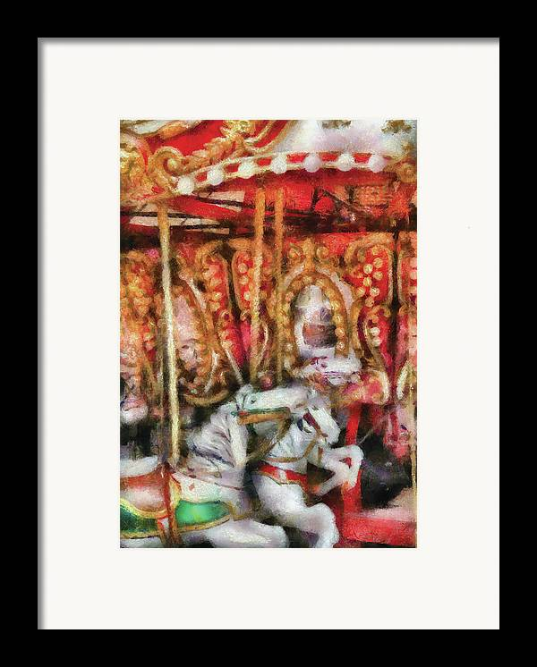 Savad Framed Print featuring the photograph Carnival - The Carousel - Painted by Mike Savad