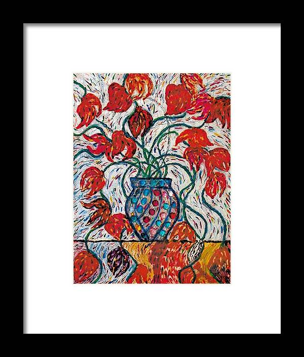 Floral Framed Print featuring the painting Carnivale Of Flowers by Brenda Adams