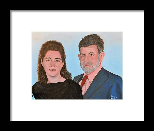 Portrait Framed Print featuring the painting Carol and Max by Stan Hamilton