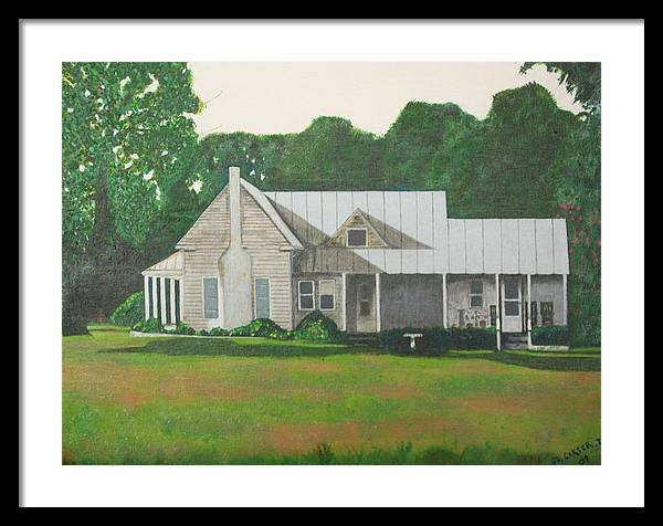 Country Home In The Woods Framed Print featuring the painting Carolina Home by John Carter
