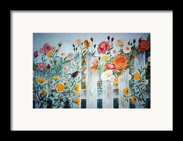 Roses; Flowers; Sc Wren Framed Print featuring the painting Carolina Wren And Roses by Ben Kiger