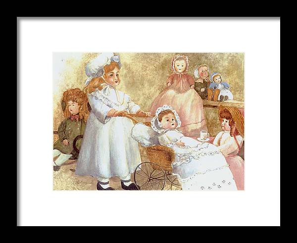 Dolls;toys;antiques;doll Carraige; Framed Print featuring the print Caroline's Dolls by Lois Mountz