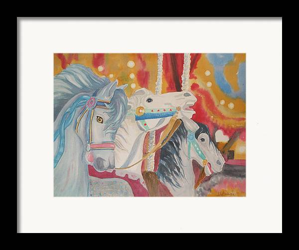 Carousel Framed Print featuring the painting Carousel 1 by Ally Benbrook