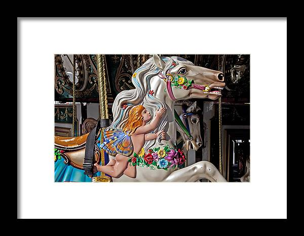 Carousel Framed Print featuring the photograph Carousel Horse And Angel by Garry Gay