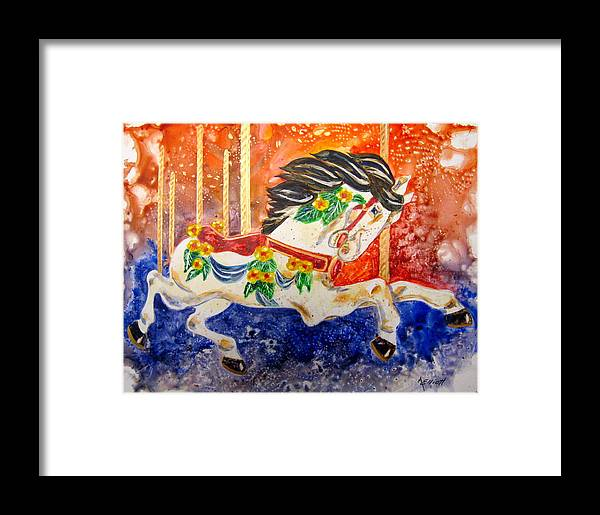 Bright Framed Print featuring the painting Carousel by Marsha Elliott