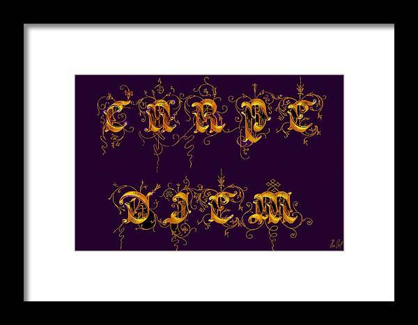 Carpediem Framed Print featuring the digital art Carpediem Redgold by Helmut Rottler