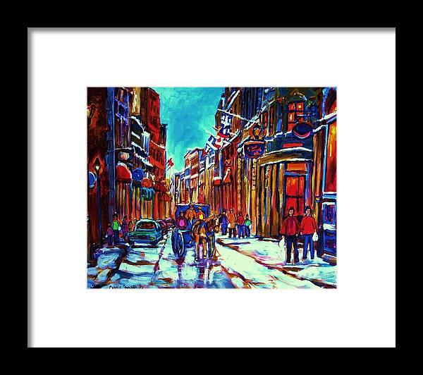 Old Montreal Framed Print featuring the painting Carriage Ride Through the Old City by Carole Spandau
