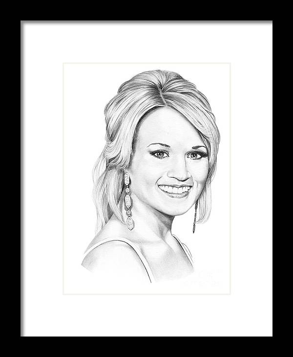 Portrait Framed Print featuring the drawing Carrie Underwood by Murphy Elliott
