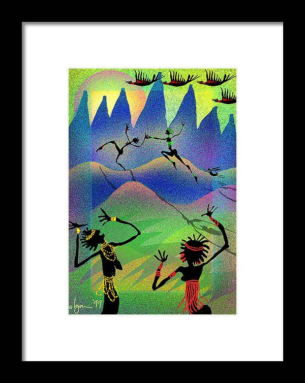 Tags: Mixed Media Framed Print featuring the painting Carried Away By Her Imagination by Angela Treat Lyon