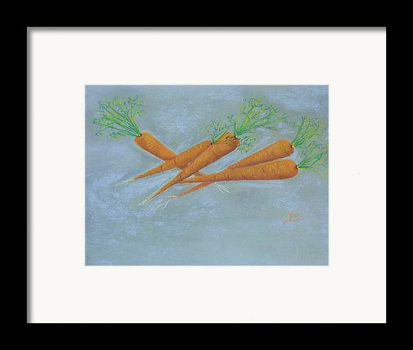 Vegetables Framed Print featuring the painting Carrots by Murielle Hebert