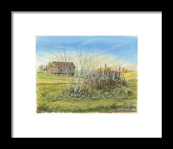 Barn Framed Print featuring the painting Cart And Barn On A Spring Day by Samuel Showman