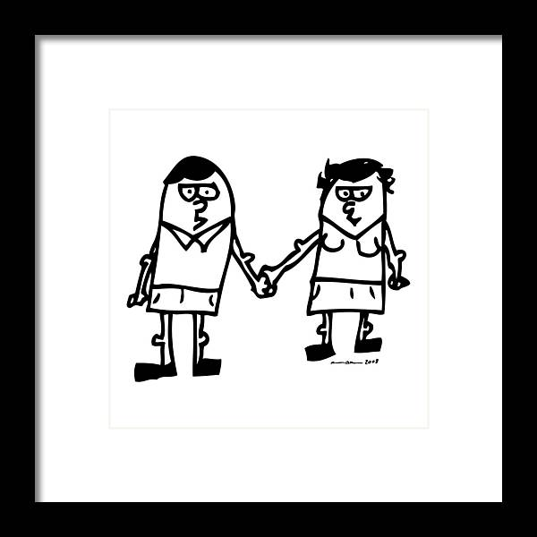 Drawing Framed Print featuring the drawing Cartoon Couple by Karl Addison