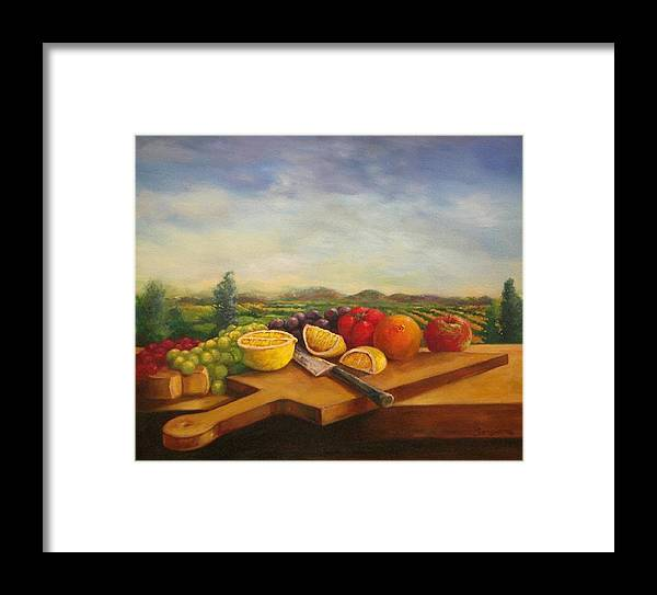 Carving Board Framed Print featuring the painting Carving Board by Tom Forgione