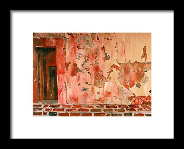 Landscape Framed Print featuring the painting Casa Vieja Old House by Oudi Arroni