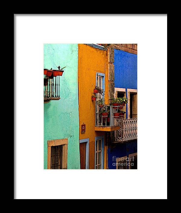 Darian Day Framed Print featuring the photograph Casas In Mint Terracotta And Blue by Mexicolors Art Photography