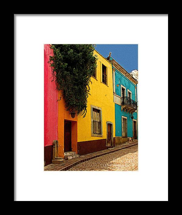 Darian Day Framed Print featuring the photograph Casas In Pink Orange Yellow Blue by Mexicolors Art Photography