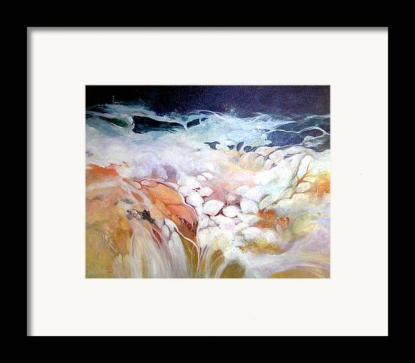 Acrylic;painting;water;rocks;waterfall;contemporary; Framed Print featuring the painting Cascade by Lois Mountz