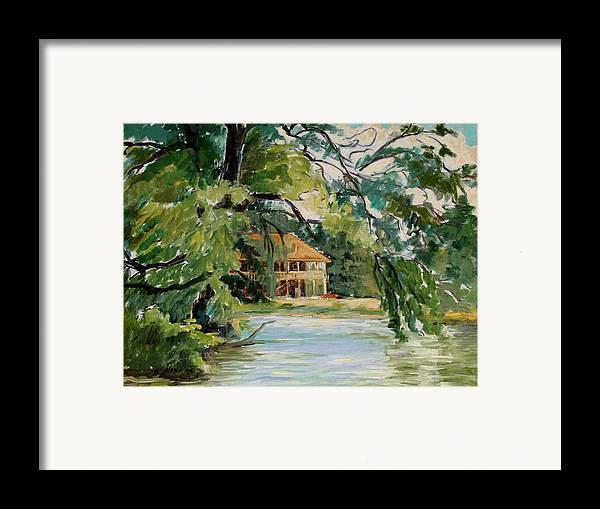Cascadilla Boathouse Framed Print featuring the painting Cascadilla Boathouse Ithaca New York by Ethel Vrana