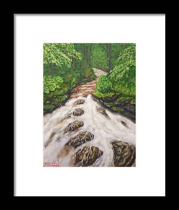 Water Land Scape Framed Print featuring the painting Cascading Stream by Charles Vaughn