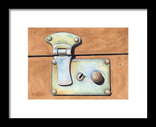 Case Framed Print featuring the painting Case Latch by Ken Powers