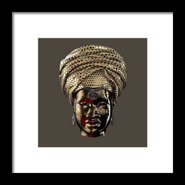 Africa Framed Print featuring the sculpture Cast In Character 2013 - Front Transparent With Red Spotlight by Omolara