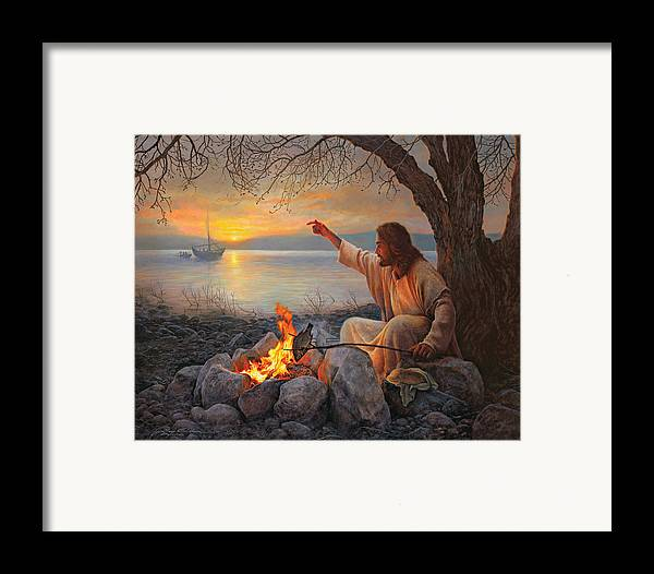 Jesus Framed Print featuring the painting Cast Your Nets On The Right Side by Greg Olsen