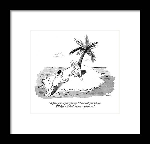 Tv Framed Print featuring the drawing Castaway Climbs Onto Shore Of Deserted Island. by Emily Flake