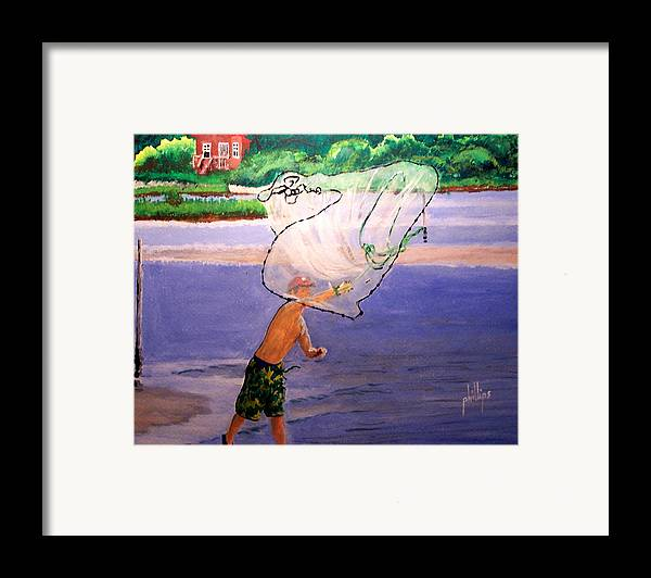Fishing Framed Print featuring the painting Casting For Bait by Jim Phillips