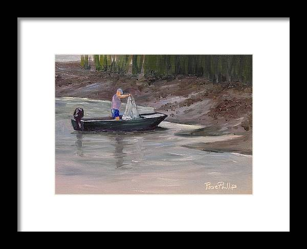 Man Framed Print featuring the painting Casting For Bait by Rosie Phillips