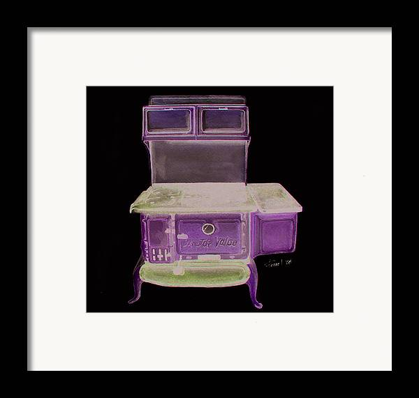 Kitchen Stove Framed Print featuring the painting Castiron Kitchen Stove by Ferrel Cordle