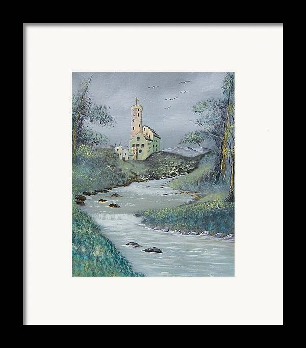 Castle Framed Print featuring the painting Castle By Stream by Tony Rodriguez