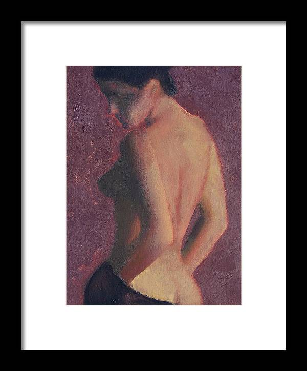Nude Framed Print featuring the painting Castle Firelight by Bill Brauker
