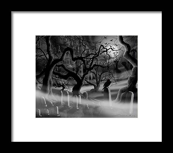Castle Framed Print featuring the painting Castle Graveyard I by James Christopher Hill