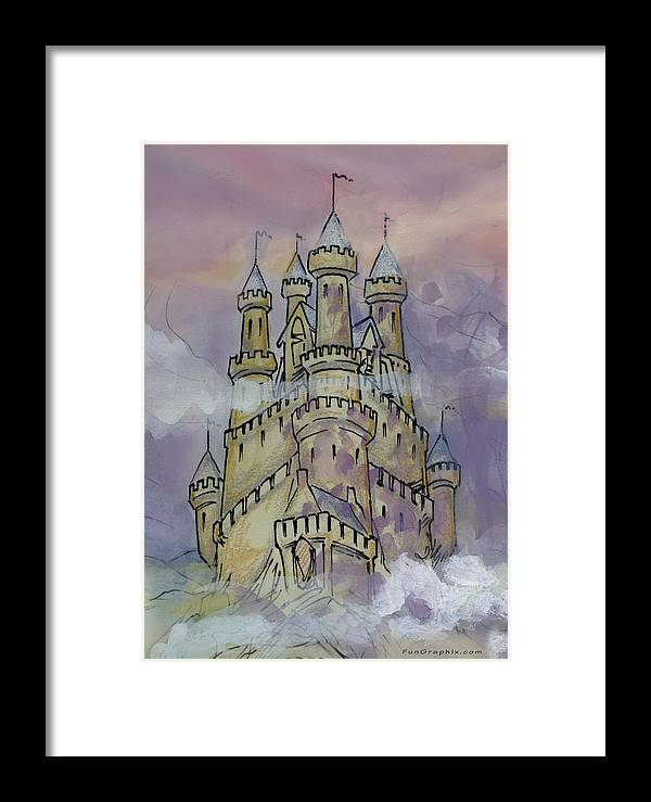 Castle Framed Print featuring the greeting card Castle by Kevin Middleton