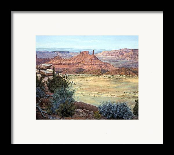 Landscape Framed Print featuring the painting Castle Rock Iv by Page Holland
