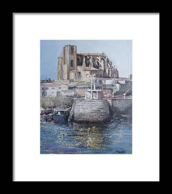 Castro Framed Print featuring the painting Castro Urdiales by Tomas Castano