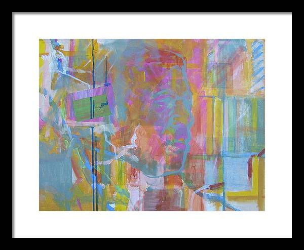 Abstract; Colors; Acrylic Composition; Canvas Panel Painting; Abstract Portrait Framed Print featuring the painting Casual Male In Minor by Howard Stroman