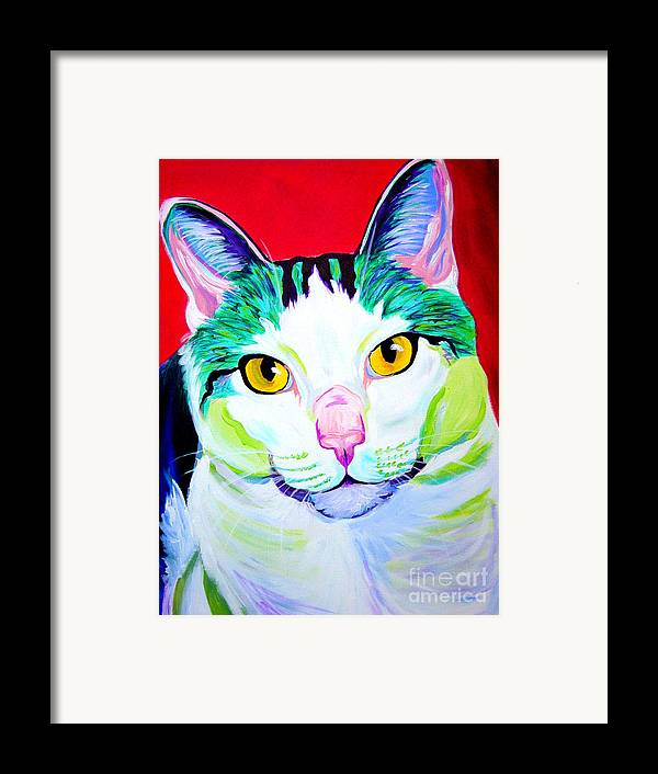 Cat Framed Print featuring the painting Cat - Zooey by Alicia VanNoy Call