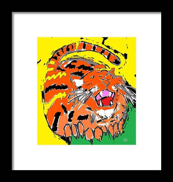 Tiger Framed Print featuring the digital art Cat 1 by Samuel Zylstra