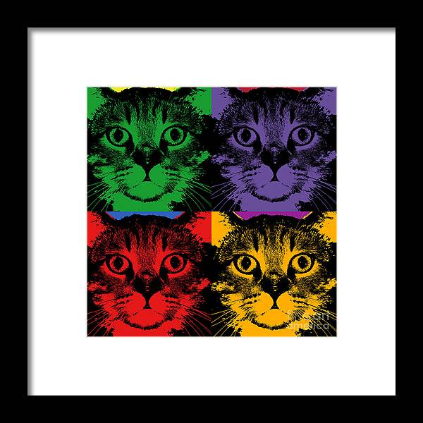 Cat 4 Panels Warhol Style Framed Print By Jean Luc Comperat