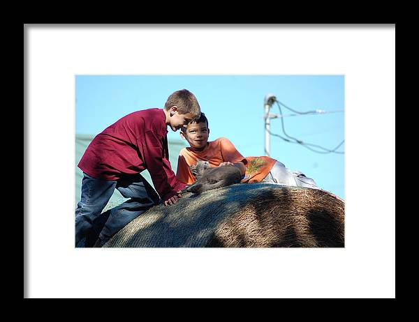 Framed Print featuring the photograph Cat And Kids On The Hay by Katrina Johns