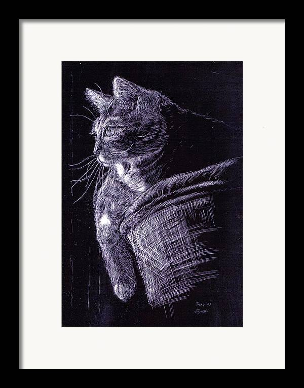 Cat Framed Print featuring the painting Cat At The Window by Roger Parnow