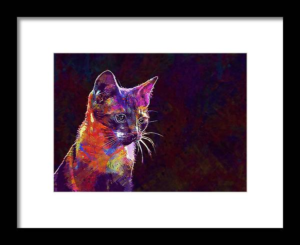 Cat Framed Print featuring the digital art Cat Background Image Cute Red by PixBreak Art